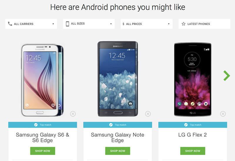 เลือกสมาร์ทโฟน Android ที่ถูกใจคุณ กับบริการ Which Phone จากกูเกิ้ล